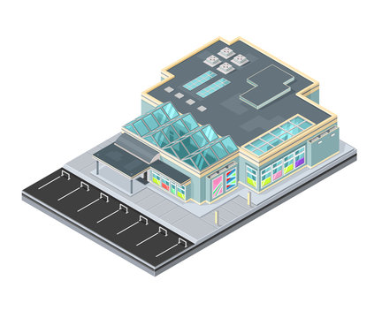 A vector illustration of a modern shopping mall icon. 