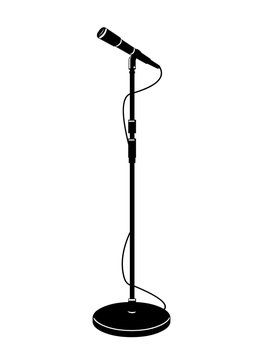 A icon vector illustration of a stage microphone in silhouette.  Entertainment mic with stand for public speaking or singing.