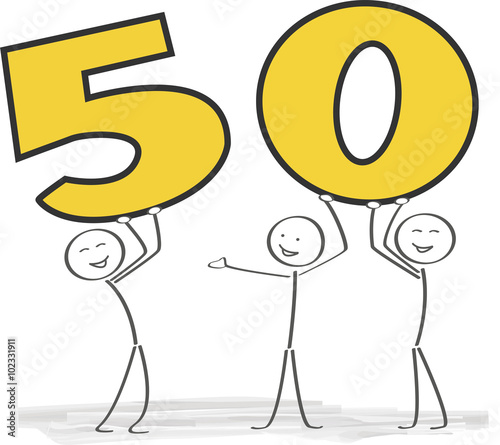 Strichmännchen Feiern 50zigsten Geburtstag