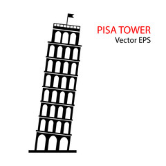 Leaning Tower of Pisa, Italy. Vector illustration isolated on white background.