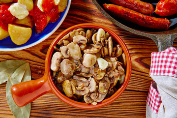 Tapas from Spain champinones mushrooms