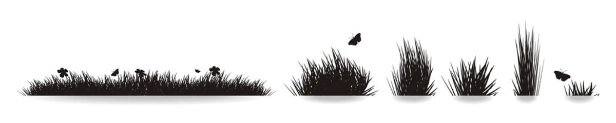 """Vector Set """" Wiese, Gras und Blumen"""""""