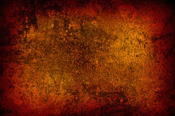grunge abstract orange background with stains close up