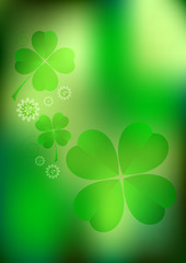 Blurred green lucky background with clover leaves and flowers. Raster illustration