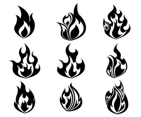 Set of Fire, Flames Icon In Black  and White Color