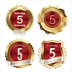 Gold and Red Anniversary Badges 5th Years Celebration