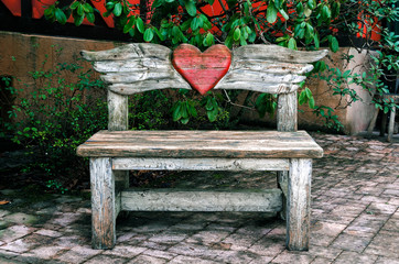 Bench with a red heart