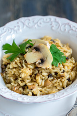 Risotto with mushrooms, onions and parsley.