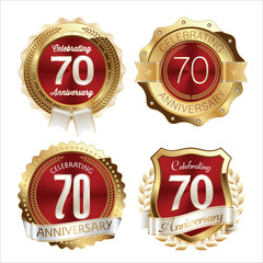 Gold and Red Anniversary Badges 70th Years Celebration