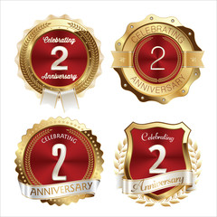 Gold and Red Anniversary Badges 2nd Years Celebration