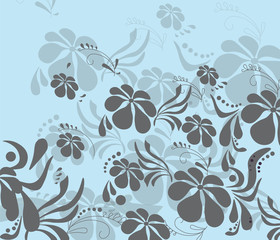 Poster Floral black and white Spring Summer colorful flower background. Vector