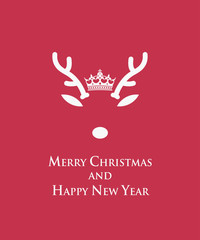 Merry Christmas card with reindeer template