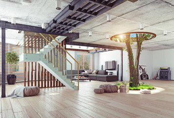 Real living tree indoor concept Wall mural