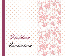 Vintage retro Wedding invitation with dots and ornaments. Vector
