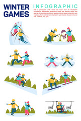 Vector flat illustration infographic of winter snow sport games. Skiing, making snowman, skating, angels on snow, sledding, snowboarding, moving by ski lift