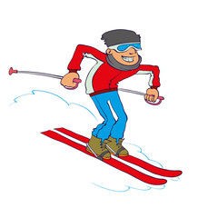Vector Cartoon Skier