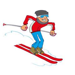 Vector Cartoon Skier