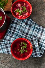 Traditional Romanian sour vegetable soup - borsch