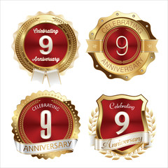 Gold and Red Anniversary Badges 9th Years Celebration