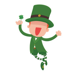 Vector Illustration of a jumping, smiling cartoon leprechaun holding a four-leaf clover for St. Patrick's Day.