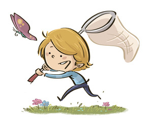 niño cazando mariposas