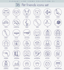 Vector pet friends outline icon set. Elegant thin line style design.
