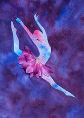 watercolor illustration silhouette of a ballet dancer