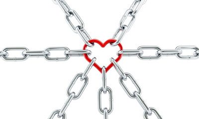 red heart chain. 3d Illustrations on a white background