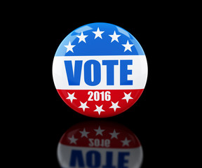 vote election badge button for 2016 3d Illustrations on black background