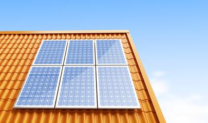 roof solar panels 3d Illustrations