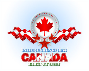 Independence day layout template with white, red stars on national flag and maple leave on Canadian flag colors background for First of July, Canadian Independence Day