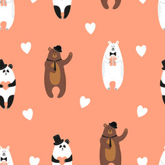 Cute bears pattern. Seamless romantic background with polar bear, brown bear and panda.