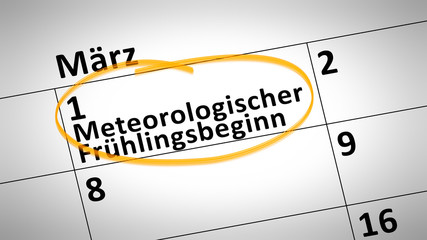 meteorological spring beginning 1st of march in german language