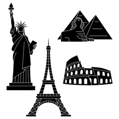 World Landmarks, Eiffel Tower, Statue of liberty, Sphinx, Colosseum. Vector flat icons set.