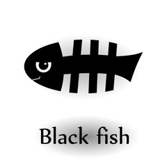 Icon black skeleton fish