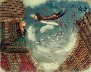 Illustration shows a man in sky.He grows into a bird.A girl stands on a balcony and looks in sky