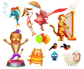 Some cartoon animals ( zebra, hippopotamus, lion,fish, dog, tiger, sheep, poultry)