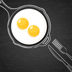 Fried eggs and hand drawn outline watercolor pan, fork and knife