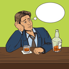 Man with bad mood drinks in bar pop art vector