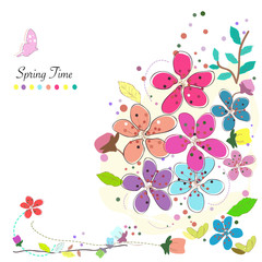 Spring time colorful abstract doodle flowers background vector.