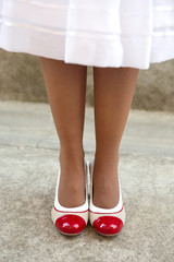 Women's legs with retro shoes