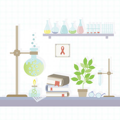 Illustration of the chemical laboratory in a flat style. Vector