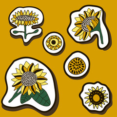 Set of stickers with sunflowers.