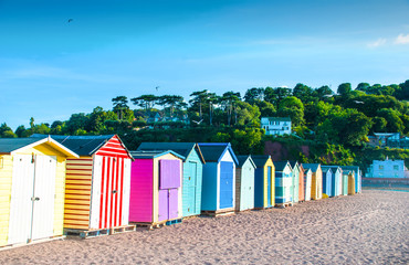 Old English Style Beach Huts, On a Beach, South Devon, UK