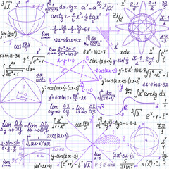 "Mathematical vector seamless pattern with figures and formulas, ""handwritten on the copybook paper"", different colors"