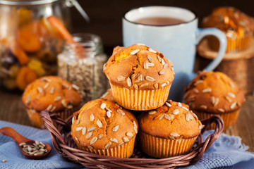 Fresh homemade delicious pumpkin muffins