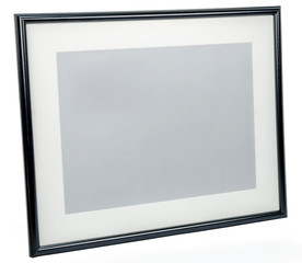 Black photo frame rotated in a plane isolated