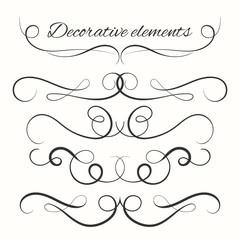 Hand drawn dividers set. Decorative borders set. Ornamental decorative elements