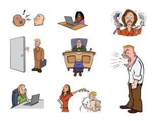 cartoon vector illustration of a workplace stress