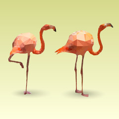 Flamingos made with triangles. Vector polygonal illustration